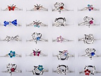 Wholesale Lot 20pcs Silver Plated Assorted Design Cute Kid Child Party Small Size Adjustable Crystal Ring
