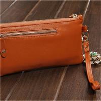 Free Shipping ( Orange) Genuine leather  Jacquard  Inner Classic  design  wallets  change purse