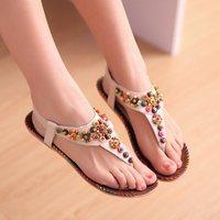 2014 summer sweet casual beaded women's shoes flip-flop flat beaded bohemia flat heel sandals