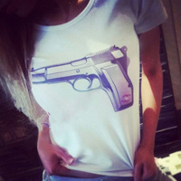 lacegirl's shop New women 2014 gun print fashion top tee short sleeve  t-shirt female white s m l