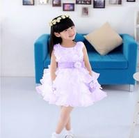2014 gorgeous princess girl dress/Summer layered chiffon party dress/Beautiful girl rosette dress