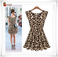Newest Free Shipping!! New 2014 Women One Piece Chiffon Dress Leopard Print Casual Microfiber Sundress Big size S M L XL XXL