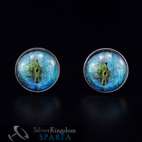 SPARTA Lifelike Blue Dragon Eye Platinum Plated cufflinks men's Cuff Links + Free Shipping !!! High quality metal cufflinks