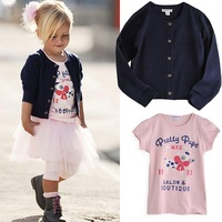 New Girl Baby Clothes 3 PCS Set Skirt+T-shirt+Coat Kids Outfit TuTu Costume For Free Shipping #KS0144