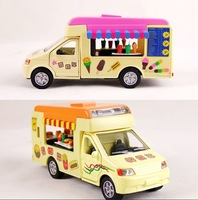 2014 Brand New Free shipping!! alloy fire truck models lightening+pull back Ice-cream Car with music
