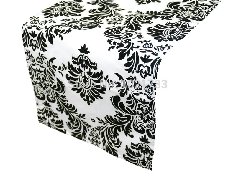 Black Table Runner Black And White Flocking Table