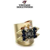 Vintage hollywood personality gem rivet opening wide gold ring Fashion trend party accessories