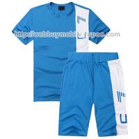 Free Shipping 2014 Men's Short Sport Suits Sport Sets Brand Design 100% Cotton Men's Leisure Suits Short Sleeve T-shirt