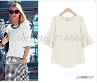 Women's Summer Chiffon Shirt Half Butterfly Sleeve Shirt Chiffon Blouses