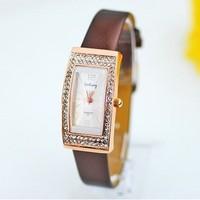 2015 New Arrival 5 Colors Top Quality Crystal Case Pu Leather Watch Women Ladies Fashion Dress Quartz Wrist Watch Go015