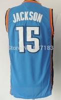 2014 Mens Oklahoma #15 Reggie Jackson Home Blue Basketball Sports Jersey,Embroidery Logo Name S-XXL Free Shipping To USA