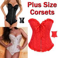 Hot Sale Zipper Black White Waist Training Corsets Boned Lace Sexy Overbust Corset Women Shapers Corselet Plus Size S-6XL 4014