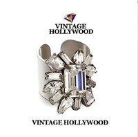 Vintage hollywood gem crystal scrub open ring Personality Fashion metal ring  Party accessories