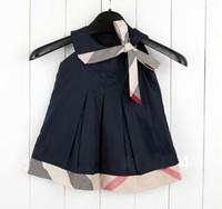 Free shipping Baby girl dresses 2014 kids plaid summer dress baby girls dress princess baby dress sleeveless Retail