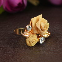 2014 full of diamond crystal jewelry crystal gem Clover retro couple rings
