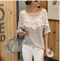 Sweet handmade crochet openwork lace shawl collar bat sleeve T-shirt female Ouma customization