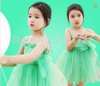 Children's new girl dresses summer 2014 Beach holiday dresses girls green dress with shoulder-straps