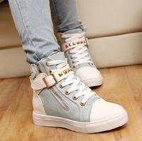 2014 New women rivets denim  skateboarding canvas shoes high top platform women sneakers leisure running shoesFree shipping