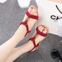 Knitted 2014 flat heel sandals flat open toe sandals the trend women's beaded sandals