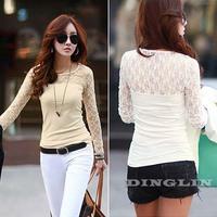 2014 New Korean Spring Women Ladies Sheer Floral Lace Slim Club Casual T Shirt Tops Tee White Black Clothing Free Ship 297