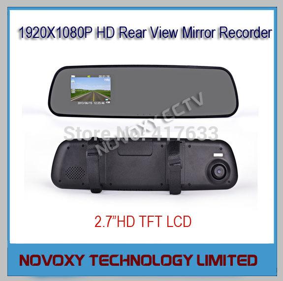 Free Shipping Full HD 1080P TFT LCD Rear View Mirror Recorder 1920x1080P Car Camera DVR Video Capture Driving Recorder 30fps(China (Mainland))