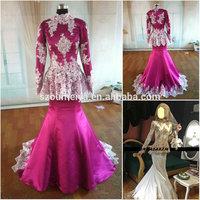 OUMEIYA ONW691 Ivory Sequined Lace Appliqued Fuchsia Satin Long Sleeves Hijab Muslim Wedding Gown