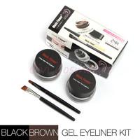 Stock Clearance 2 in 1 Brown + Black Gel Eyeliner Make Up Water-proof and Smudge-proof Cosmetics Set Eye Liner Kit in Eye Makeup