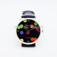 50pcs New Fashion Leather Women Ladies Quartz Watches GENEVA Cute Polka Dots Best Gift Kids Watch 9 Colors Mix Order