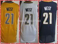 2014 Mens Indiana #21 David West Blue/White/Yellow Basketball Sports Jersey,Stitched S-XXL Free Shipping To USA