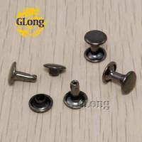 Black Nickel 8*4mm Round Double Cap Rivet Metal Punk Rock DIY Studs Leathercraft Accessories Spike 100pcs #GZ015-8B