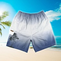 2014 summer new cotton plaid shorts, classic fashion beach pants, two-color  coconut pattern surf shorts free shipping 9907