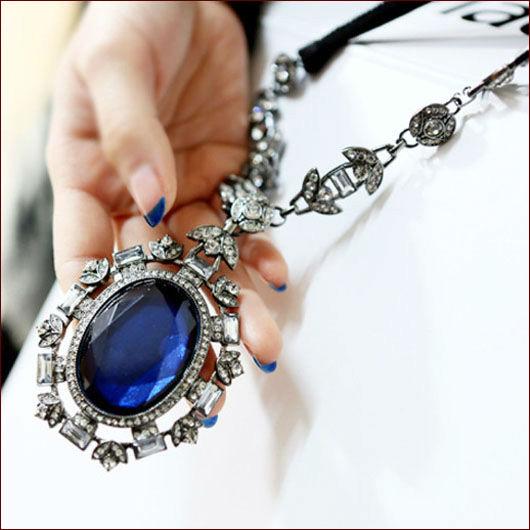 Free Shipping 2014 Hot Selling Vintage Big Blue Gems Set Drill Necklaces Pendant Fashion Jewlery Ribbon