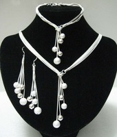 925 Jewelry Sets - S100 / Aliexpress Hot , Frosted / Smooth Bracelets & Bangle Necklace Earrings , Silver Plated Jewelry Sets