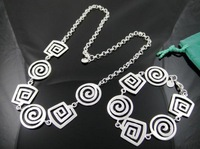 925 Jewelry Sets - S101 / Hot Sale Jewellery , Smooth Bracelets & Bangle & Necklace , Silver Plated Jewelry Sets