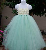 Mint green Flower Girl Dress Floor-Length Flower Girl Tutu Dress For Wedding/Birthday/Party Princess Girl Dress