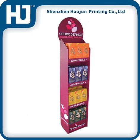 Haojun 4 shelves new design custom candy / cookies promotion cardboard pallet floor displays stand(China (Mainland))