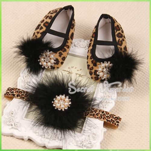 Jardim Secreto # 2S1916 3 set / lote dos bebés Vintage Diamond / Pearl bailarina Sapatinho & penas Set cabeça Leopard Shoes definir CPAM(China (Mainland))