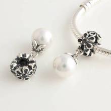 Se encaixa Pandora Original Charm Bracelet 925 grânulos de prata Dangle White Pearl Pendant charme europeu Mulheres DIY Jóias(China (Mainland))
