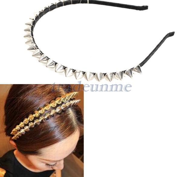 Free shipping Popular Fashion Cool Punk Headband Spike Cone Rivets Band Women Hair Band Silver(China (Mainland))