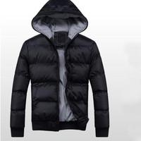 2014 new winter men's black down jacket casual men's cotton jackets mens hooded warm jacket  M-L-XL-XXL-xxxl mens clothing