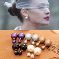 """12 pair/lot  Fashion earrings ornaments stud earrings for women  the  """"Double pearl""""  eardrop ,ear cuff  DIY jewelry"""