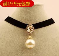 Small accessories big pearl petal velvet female short design chain necklace