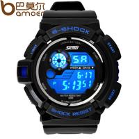 2014 New Arrival SKMEI S-Shock  Men Watch  Back Light Quartz Silicone Japanese Movement Led Sport Wristwatch WA3002