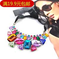 Multi-color irregular gem necklace short design ribbon necklace fashion Women accessories