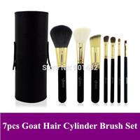 Black 7 pcs 7pcs Makeup Base Brushes Cosmetic Brush Tools Kit with PU Cylinder Case, 4 Color Select, Free ship