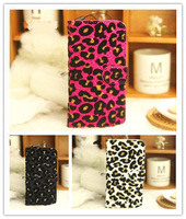 Bling Villus Leopard Book Pouch Flip PU Leather Case Cover For LG Optimus L7 P700/P705
