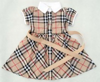 Retail New 2014 Brand Girls' dresses princess children dress Summer Plaid Dress size for 4M-2years Pink Red Brown Blue 4 Color