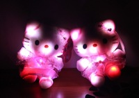 Night light colorful 18cm KT cat doll Hello Kitty Plush Doll birthday gift wholesale plush toys for kids Gifts PPB553