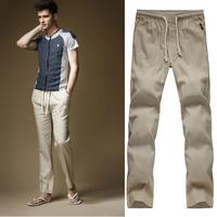 Korean Design Trousers Male Summer Thin Linen Casual Skinny Pants Super Hot Men's Fluid Loose Slim Fit Plus Size Sports Pants