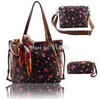 New leather ladies handbags shoulder bag big bag tide Mobile Messenger bag leather three-piece LASH